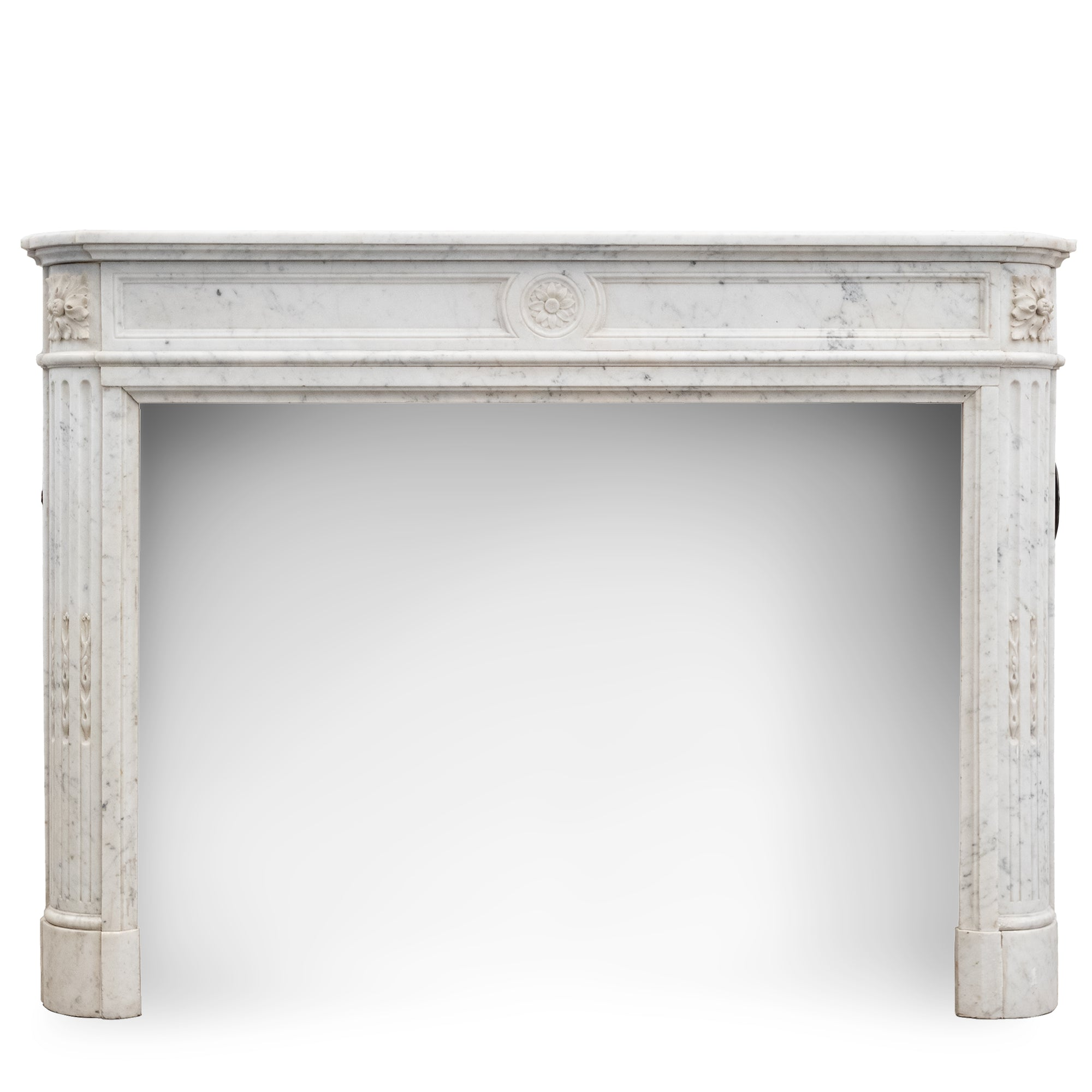 Antique Louis XVI Style Carved Marble Fireplace in Carrara Marble | The Architectural Forum
