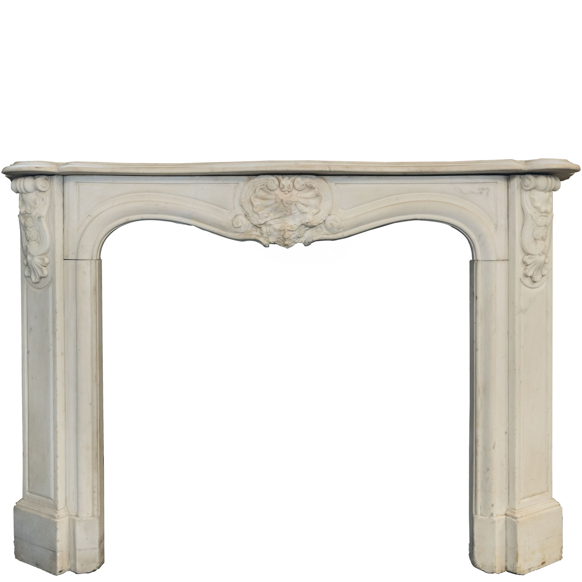 Antique Louis Style Carrara Marble Fireplace Surround