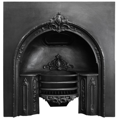 Antique Georgian Cast Iron Fireplace Arched Insert - architectural-forum