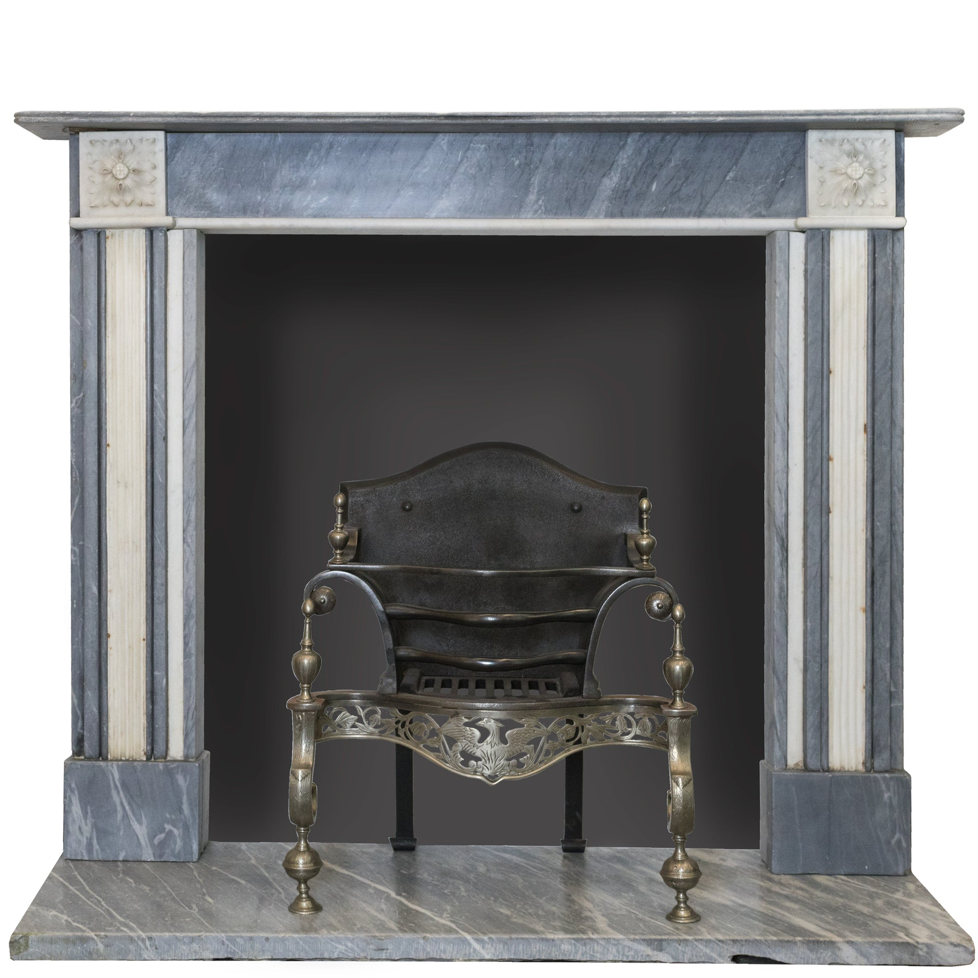 Antique Regency Dove Grey and Statuary Marble Chimneypiece