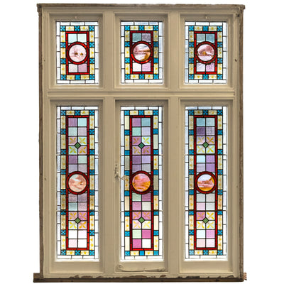Large Antique Victorian Stained Glass Window
