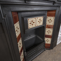 Antique Victorian Cast Iron Tiled Combination Fireplace