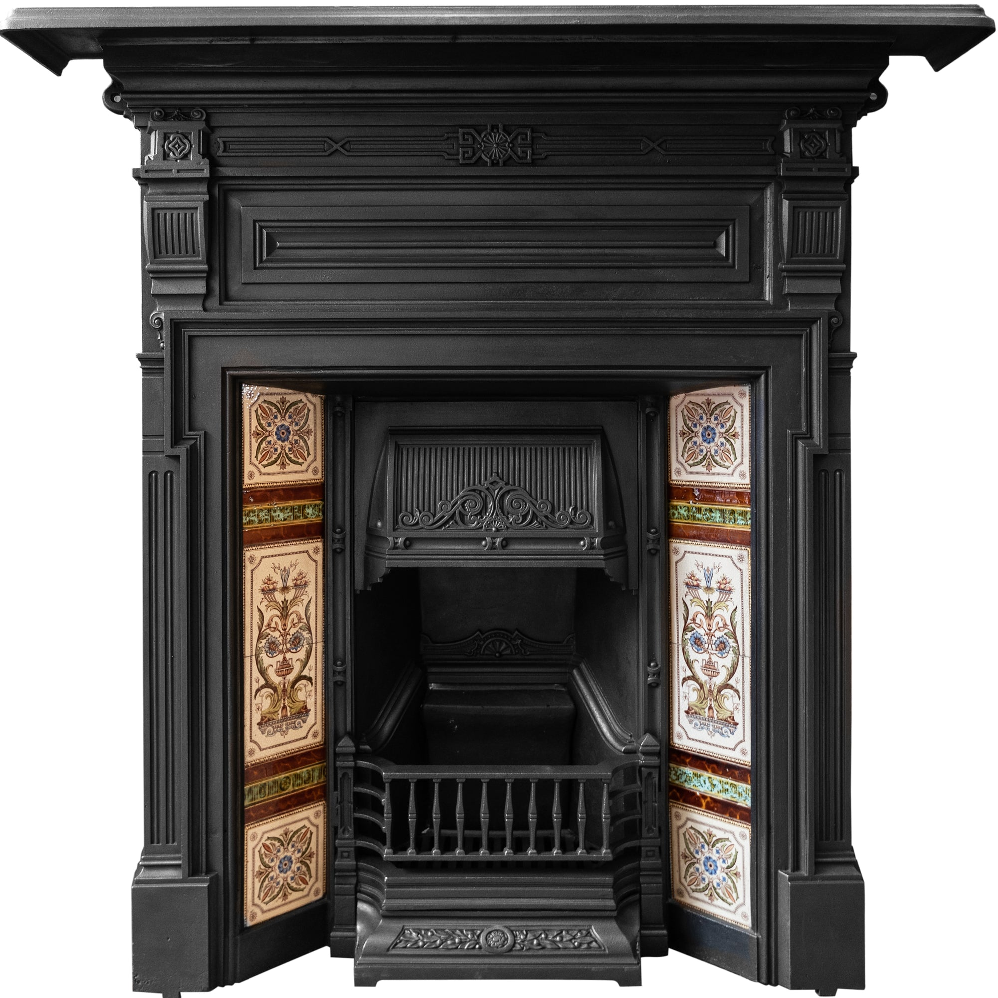 Antique Edwardian Cast Iron Tiled Combination Fireplace - The Architectural Forum