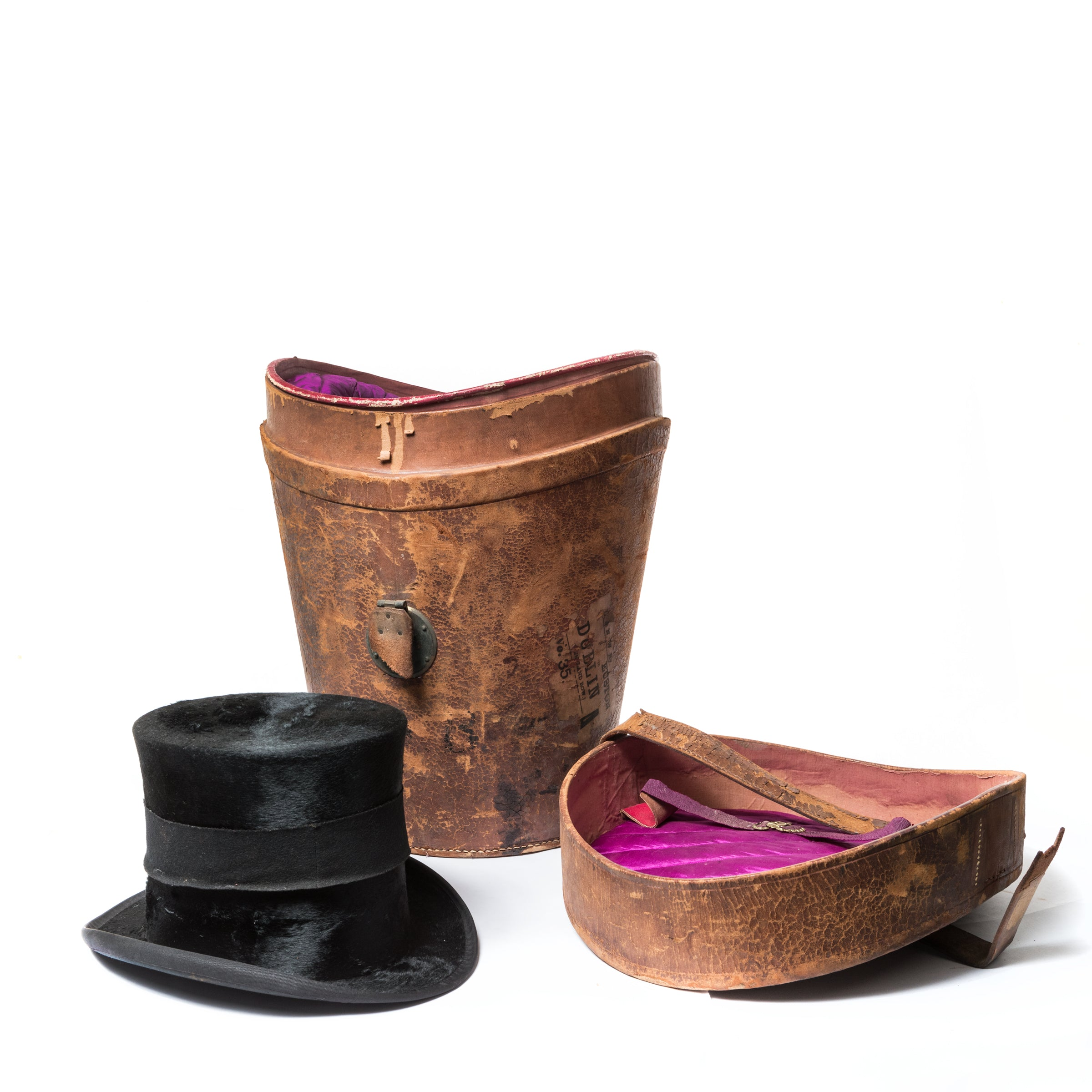 Antique Top Hat with Leather Hat Box