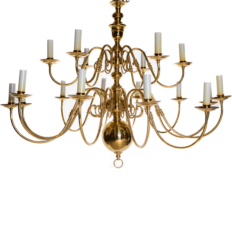 Large Two Tier Antique Brass Chandelier