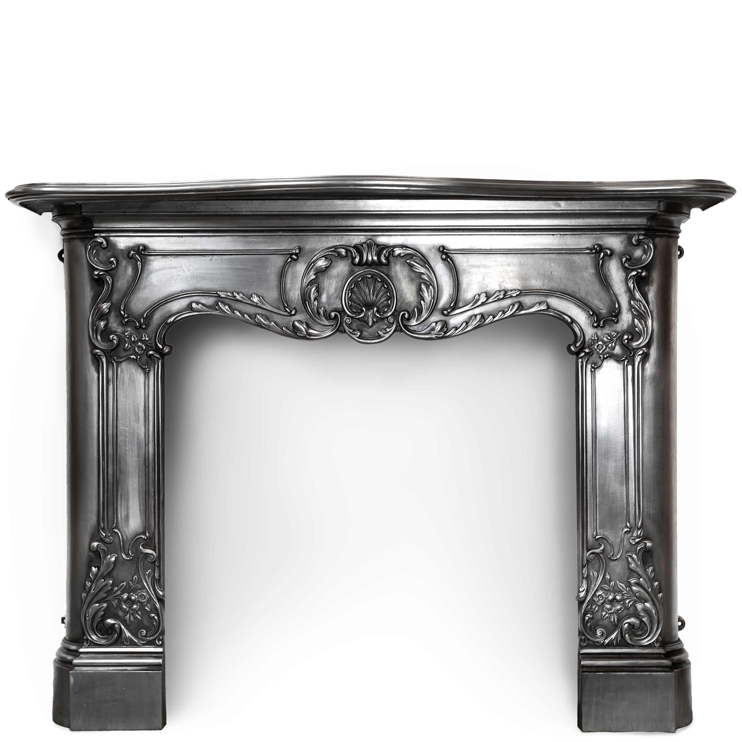 Antique Victorian Rococo Style Ornate Polished Cast Iron Fireplace Surround