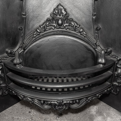 Antique Victorian Cast Iron Fireplace Arched Insert - architectural-forum