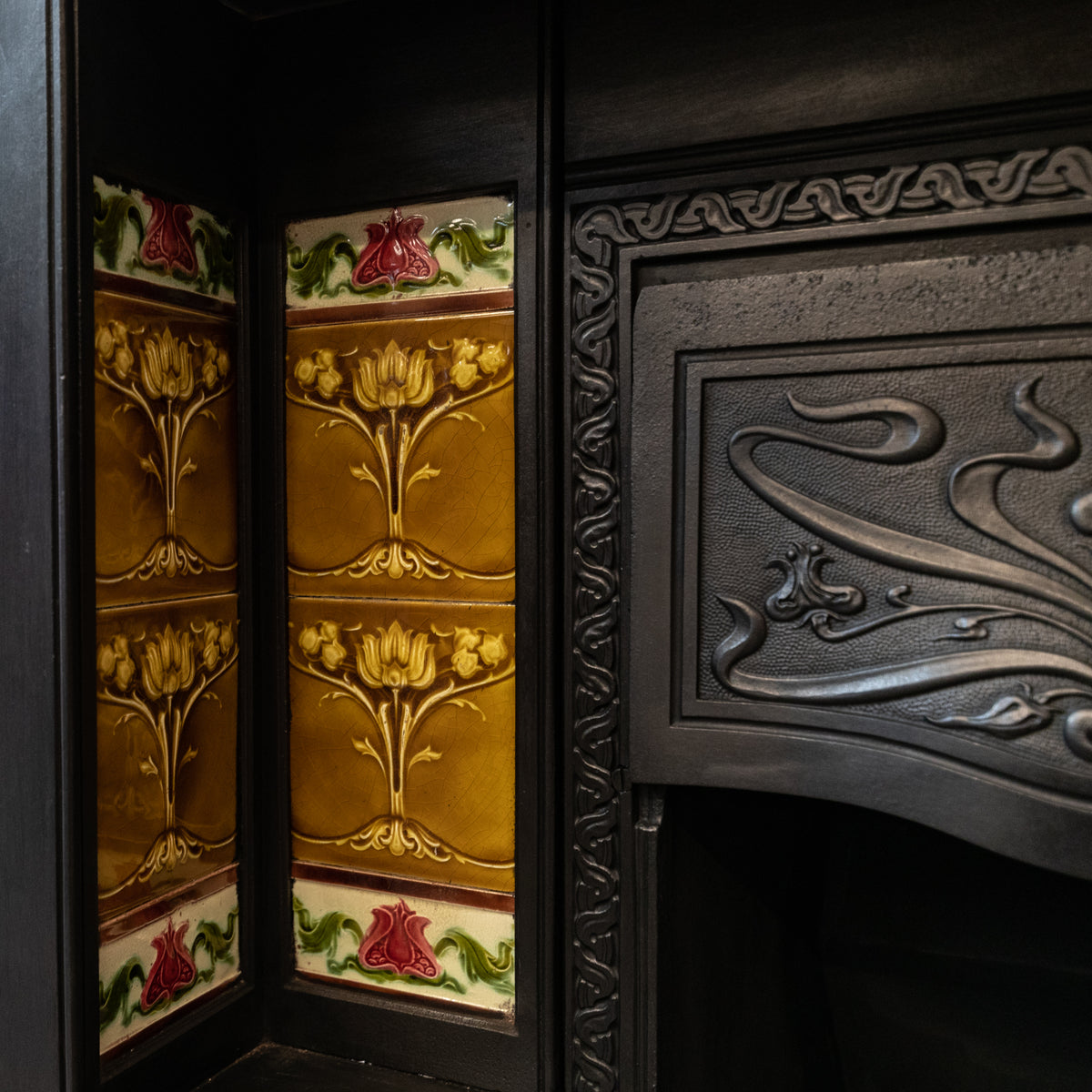 Large Antique Art Nouveau Cast Iron Tiled Fireplace Insert | The Architectural Forum