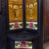 Large Antique Art Nouveau Cast Iron Tiled Fireplace Insert - architectural-forum