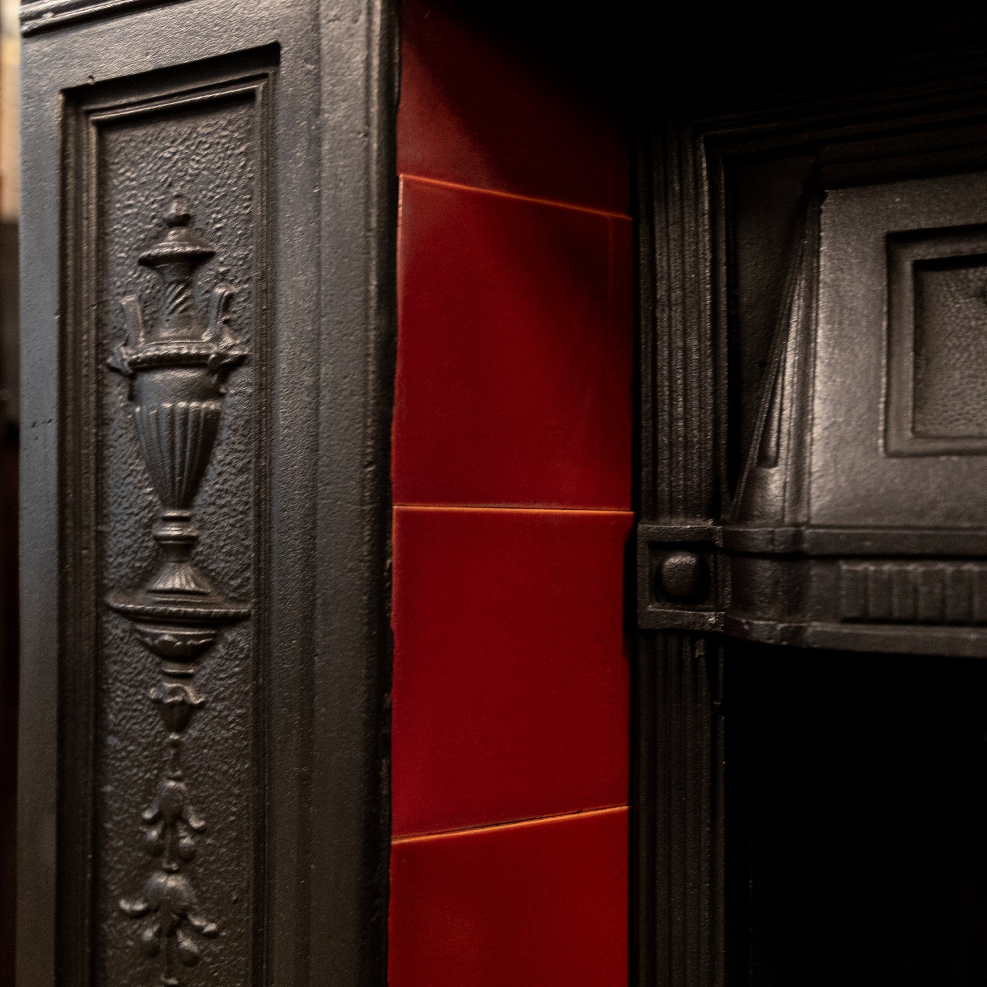 Antique Edwardian Cast Iron Combination Fireplace with Red Tiles | The Architectural Forum