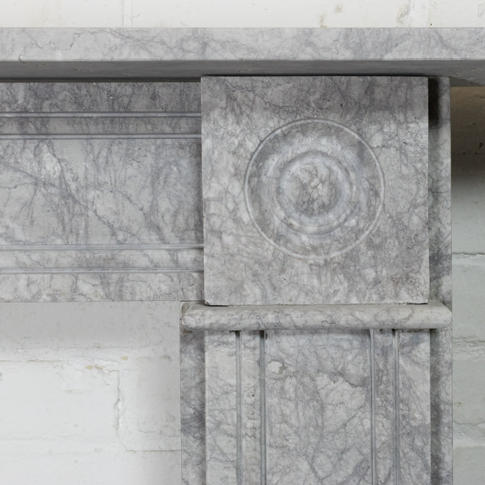 Georgian Style Bullseye Grey Marble Fireplace Surround | The Architectural Forum