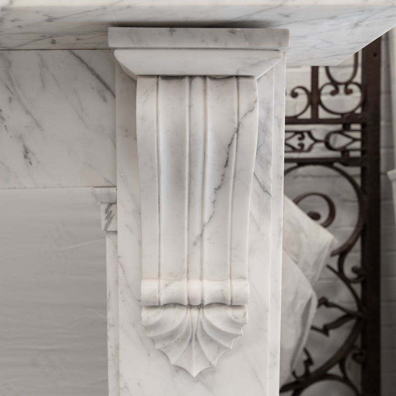 Antique William IV Carrara Marble Corbel Fireplace Surround