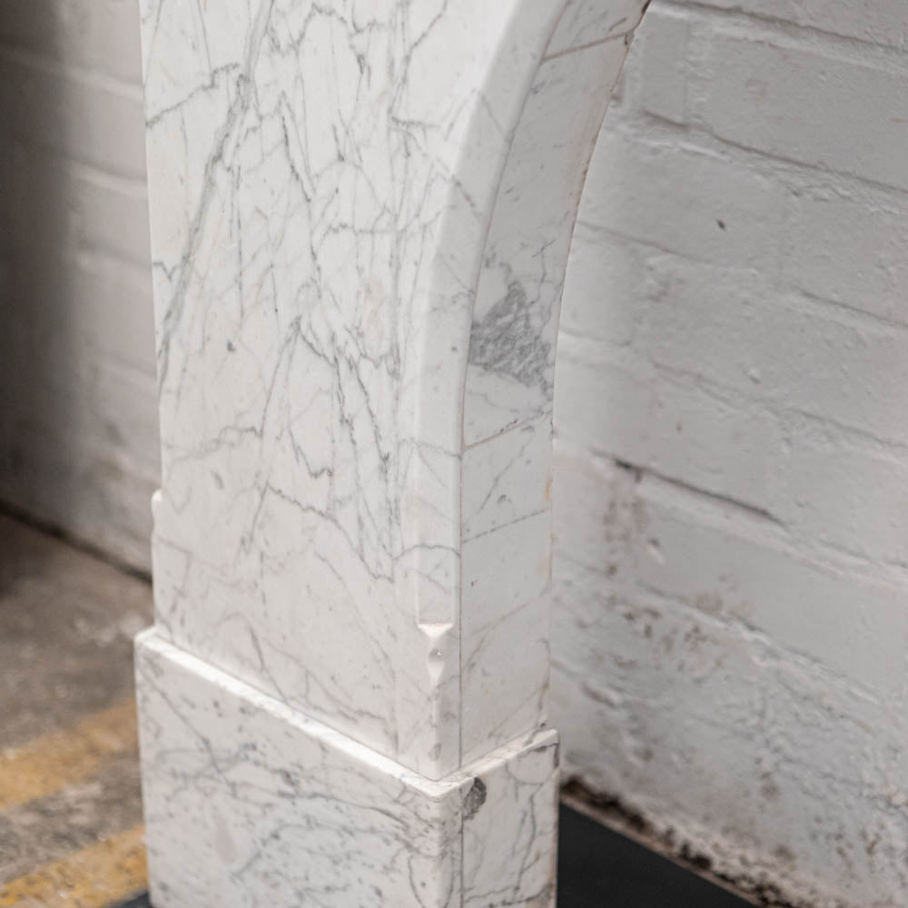 Antique Arched Statuary Pencil Vein Marble Chimneypiece