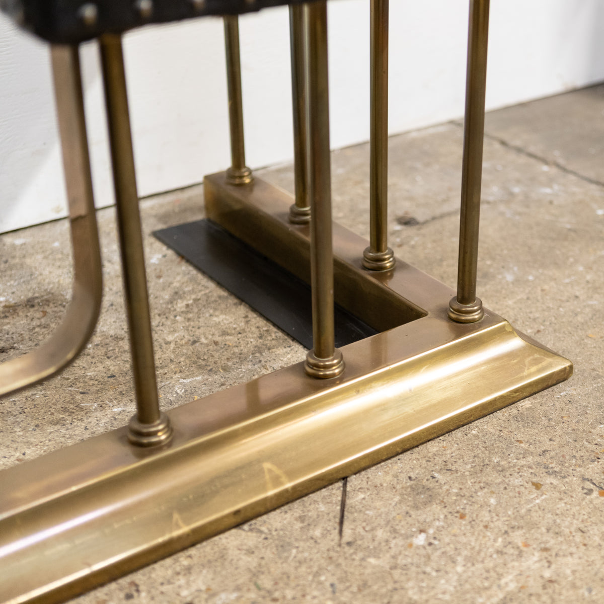 Antique Victorian Club Fender | Brass & Black Leather | The Architectural Forum