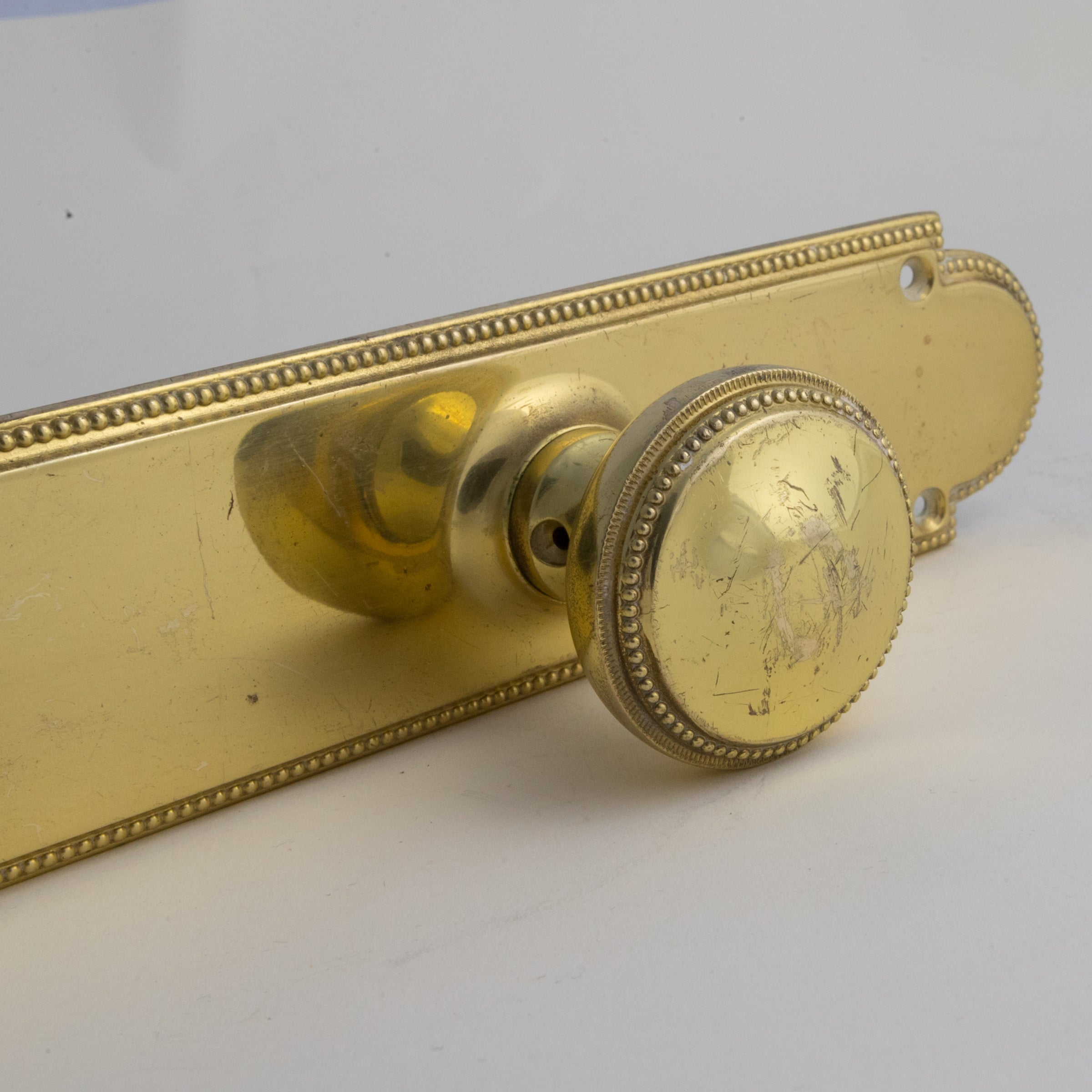 Reclaimed Solid Brass Door Knob and Backplate