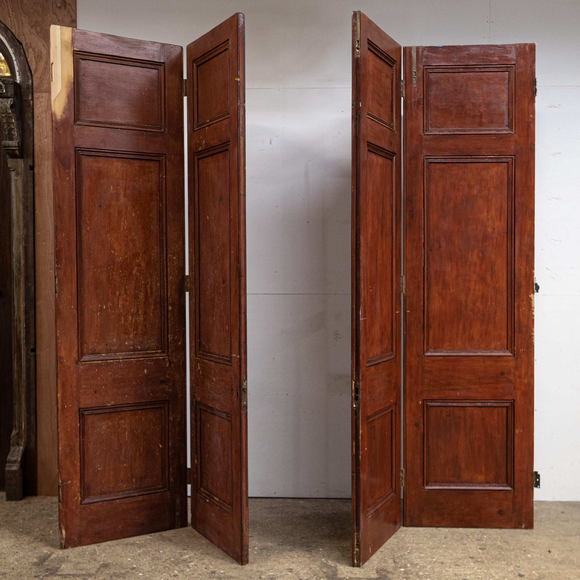 Antique Grand Pine Bi-Folding Doors 255cm Tall X 268cm Wide | The Architectural Forum