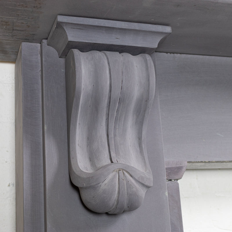 Antique Welsh Slate Fireplace Surround With Corbels