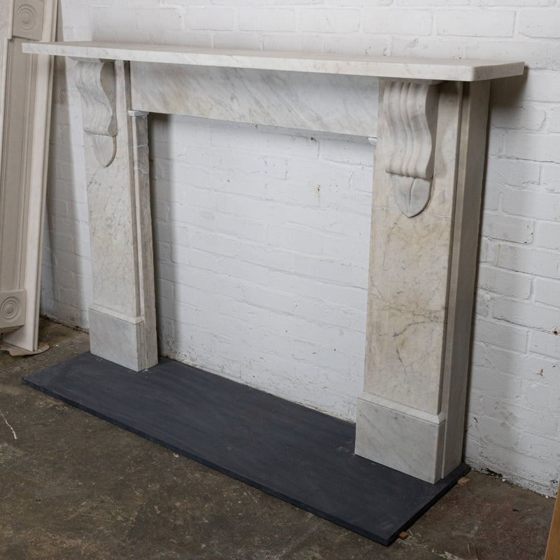 Antique Victorian Carrara Marble Corbel Chimneypiece
