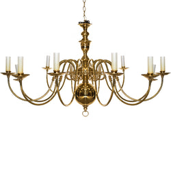 Reclaimed Antique Brass 12 Arm Chandelier
