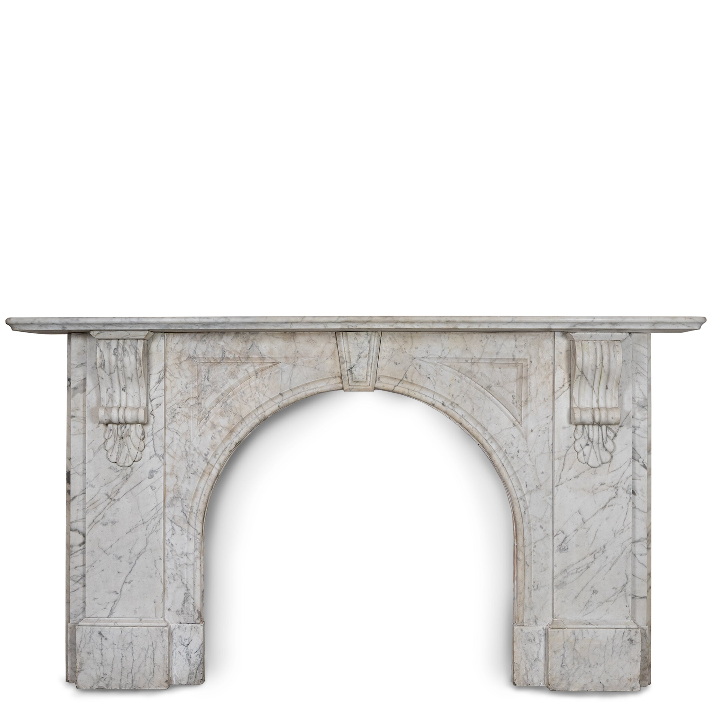 Large Antique Victorian Carrara Marble Arched Chimneypiece