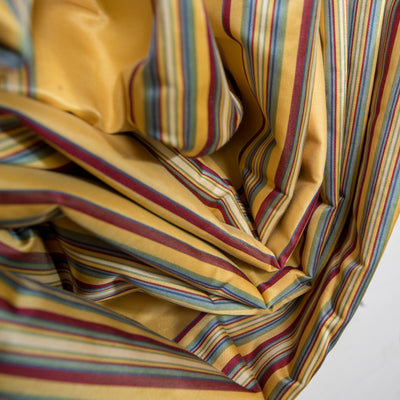 Reclaimed Long Brushed Silk Golden & Striped Curtains