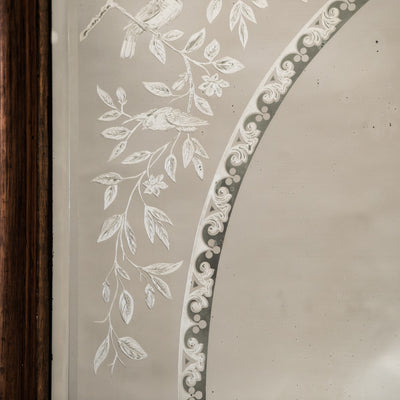 Large Antique Victorian Etched Mirror with Wooden Frame