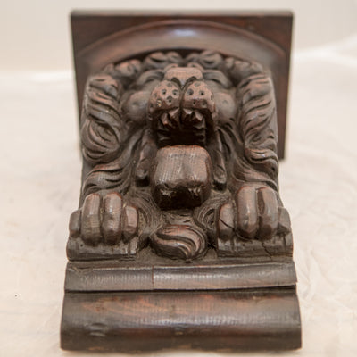 Antique Carved Wooden Gothic Lions Head Corbels - architectural-forum