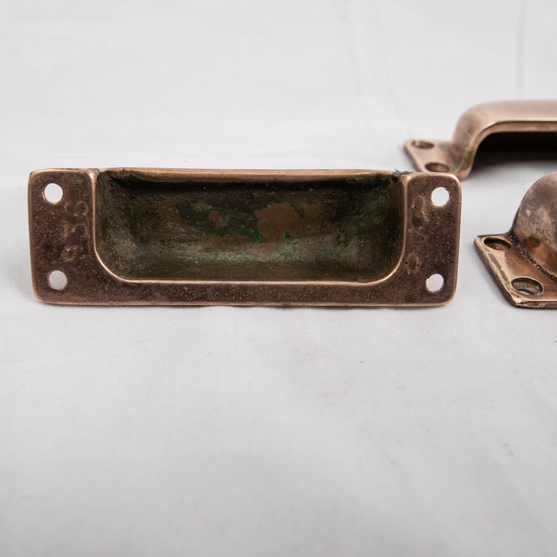Reclaimed Pair of Rose Brass Drawer Cup Handles - architectural-forum