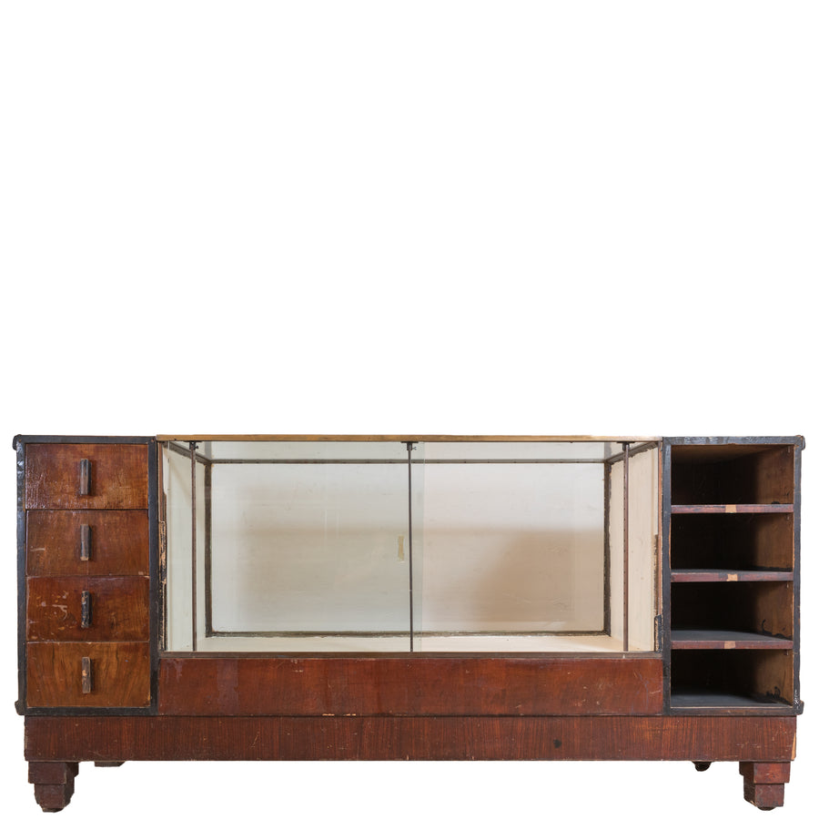 Art Deco Walnut Glazed Shop Counter