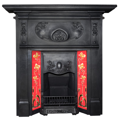 Art Nouveau Cast Iron Combination Tiled Fireplace - The Architectural Forum