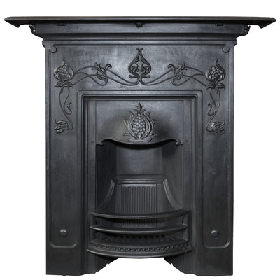 Antique Art Nouveau Cast Iron Combination Fireplace - The Architectural Forum