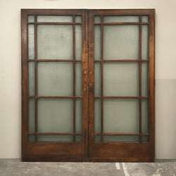 A pair of antique glazed iding panelled doors in teak & Teak Glazed Double Doors - 202cm x 229cm · The Architectural Forum