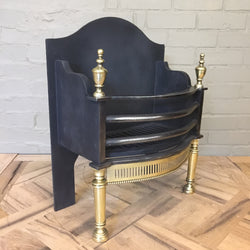 cast iron and brass reclaimed fire basket