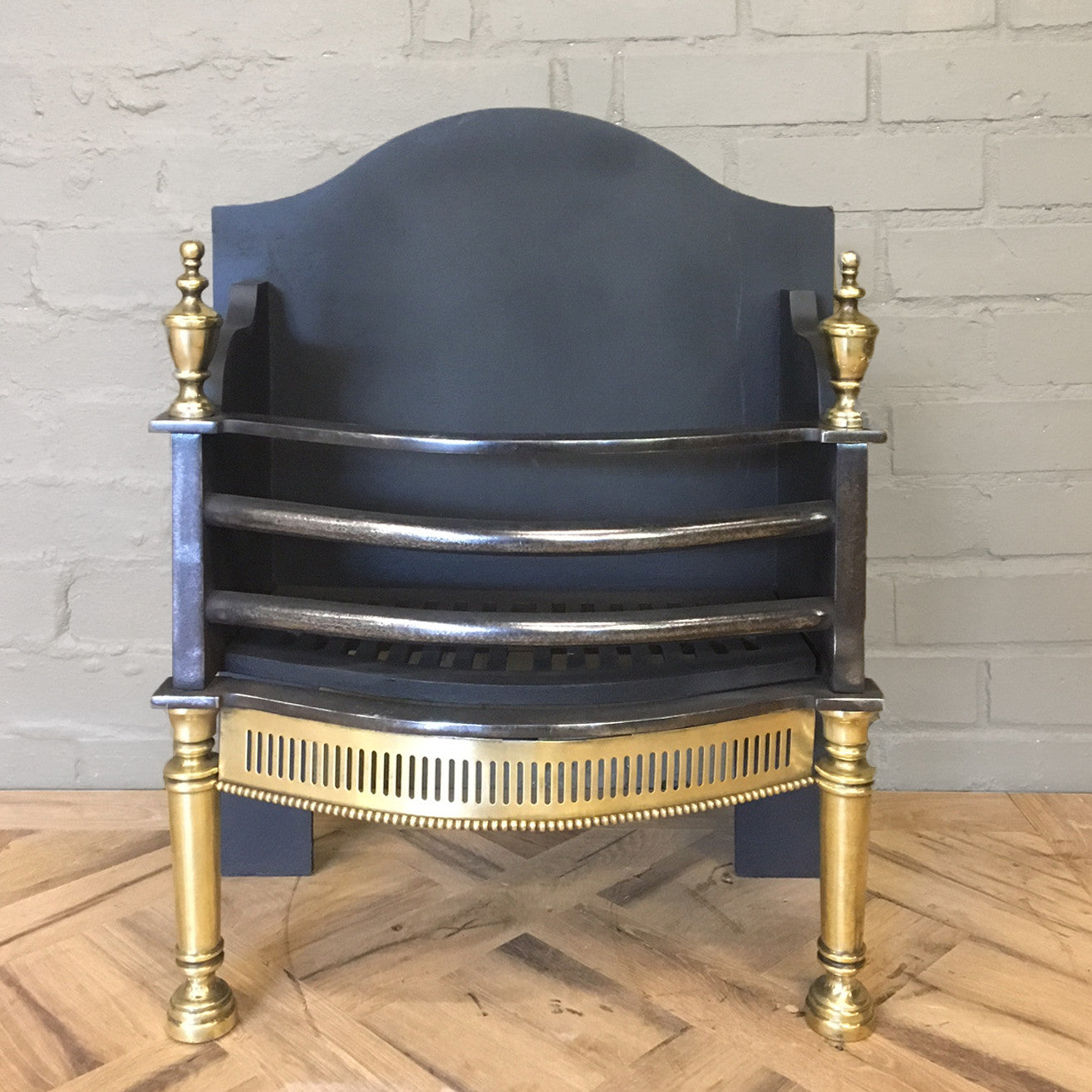 Reclaimed Cast Iron and Brass Fire Basket