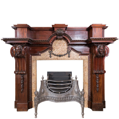 Large Baroque Mahogany & Marble Fireplace Surround - architectural-forum