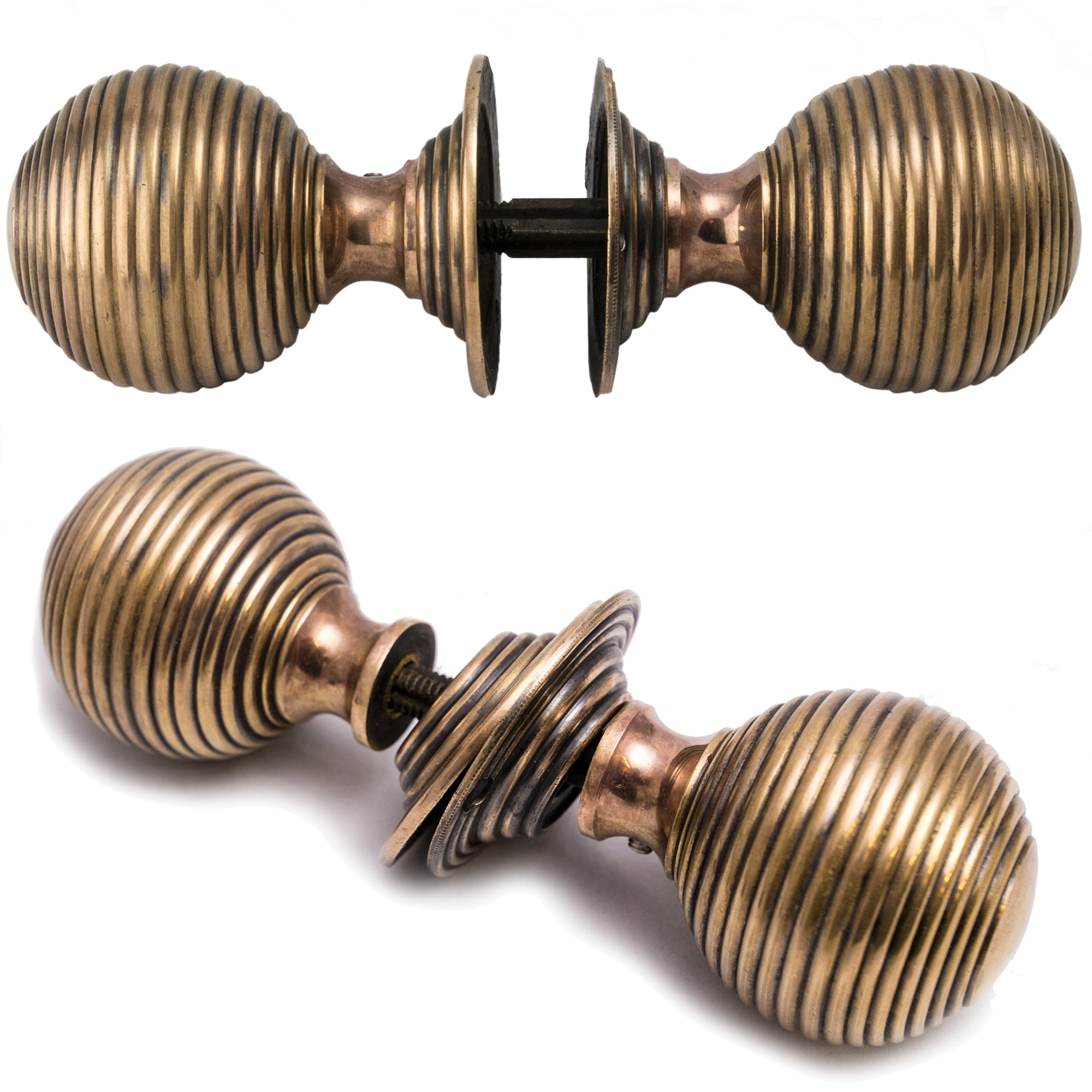 Reclaimed Solid Brass Beehive Door Handles - architectural-forum