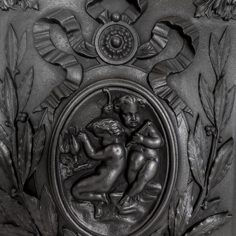 Antique Cast Iron Fire Back Triptych with Cherubs - The Architectural Forum