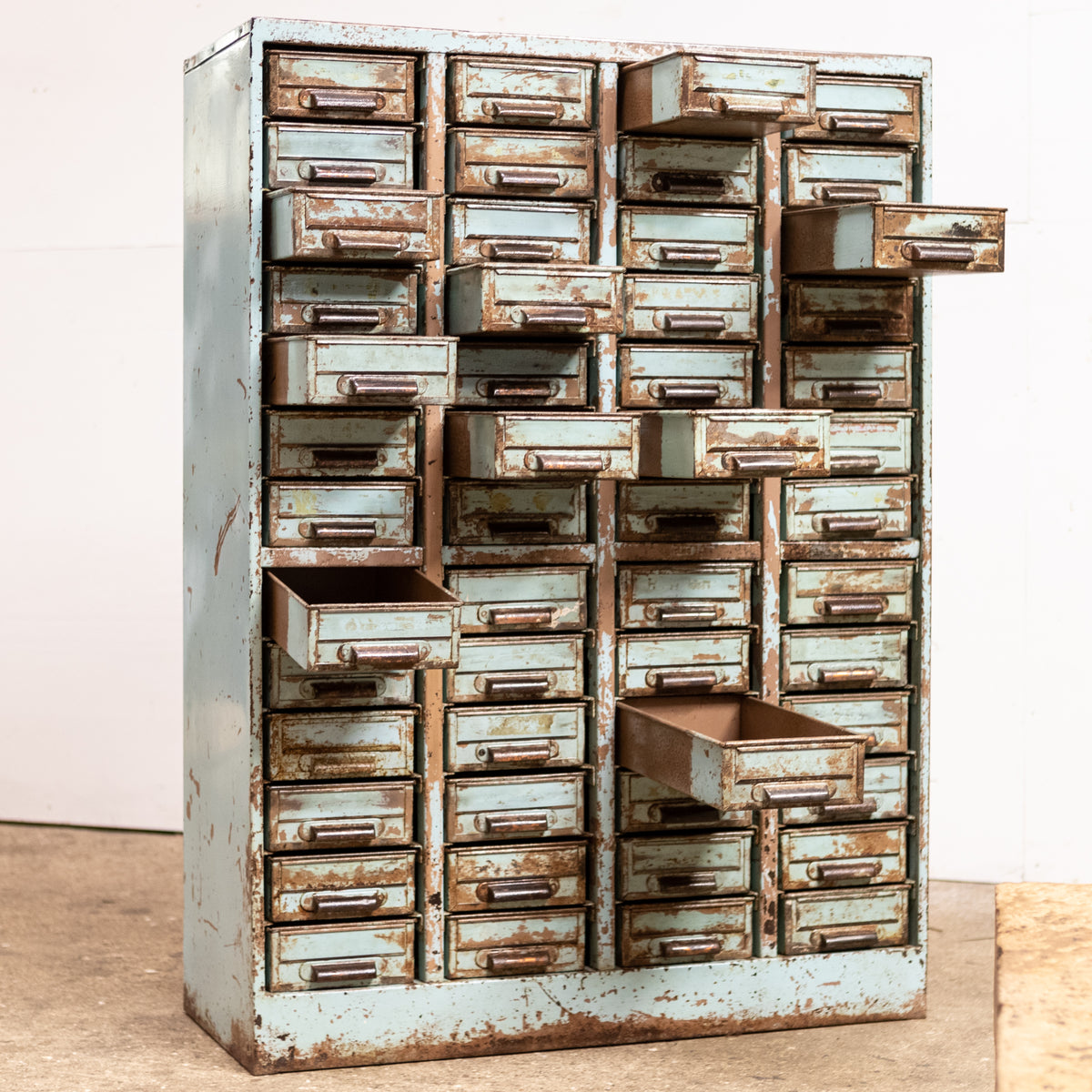 Vintage Blue Industrial Mid-Century Metal Drawer Cabinet | The Architectural Forum