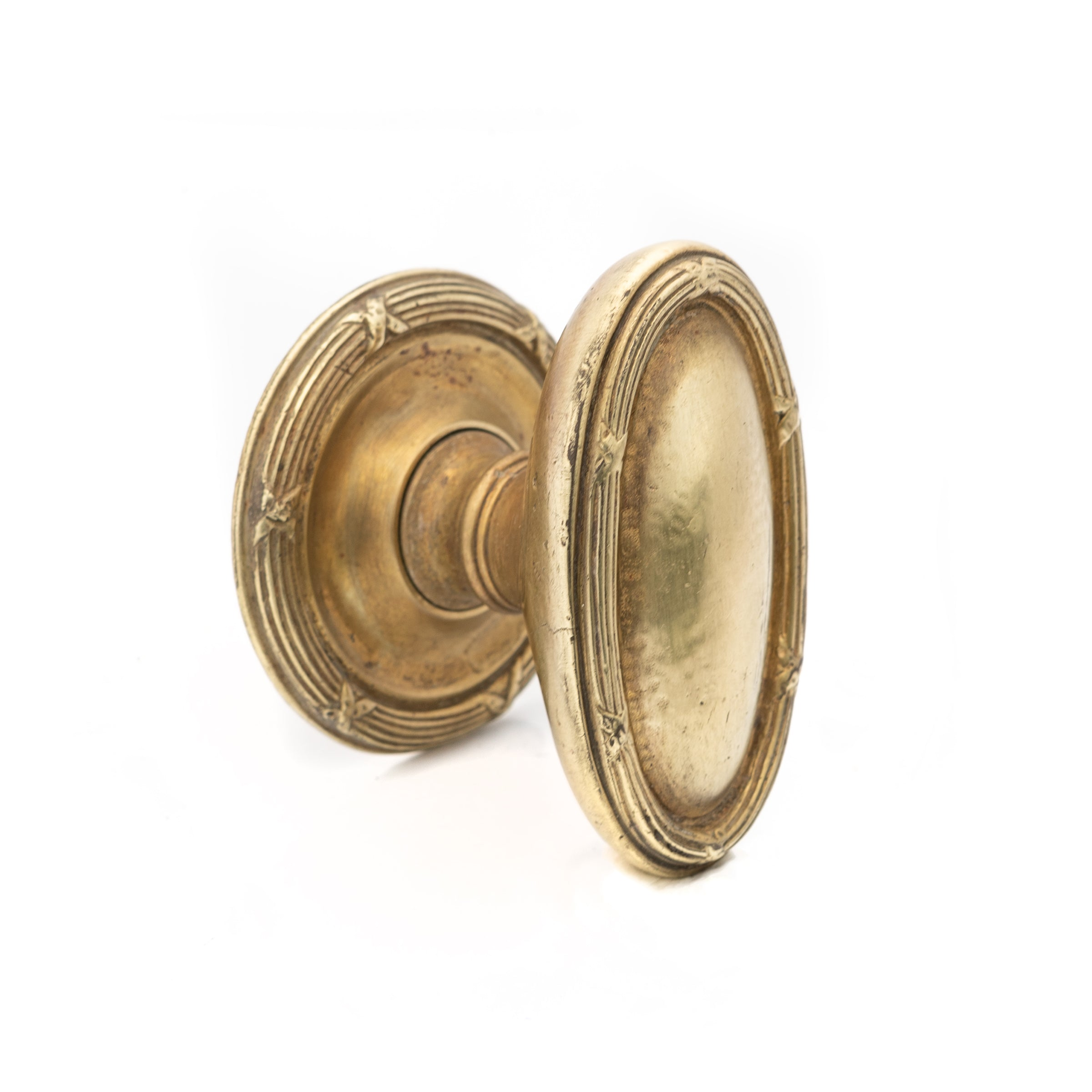 Antique Edwardian Oval Brass Door Knob
