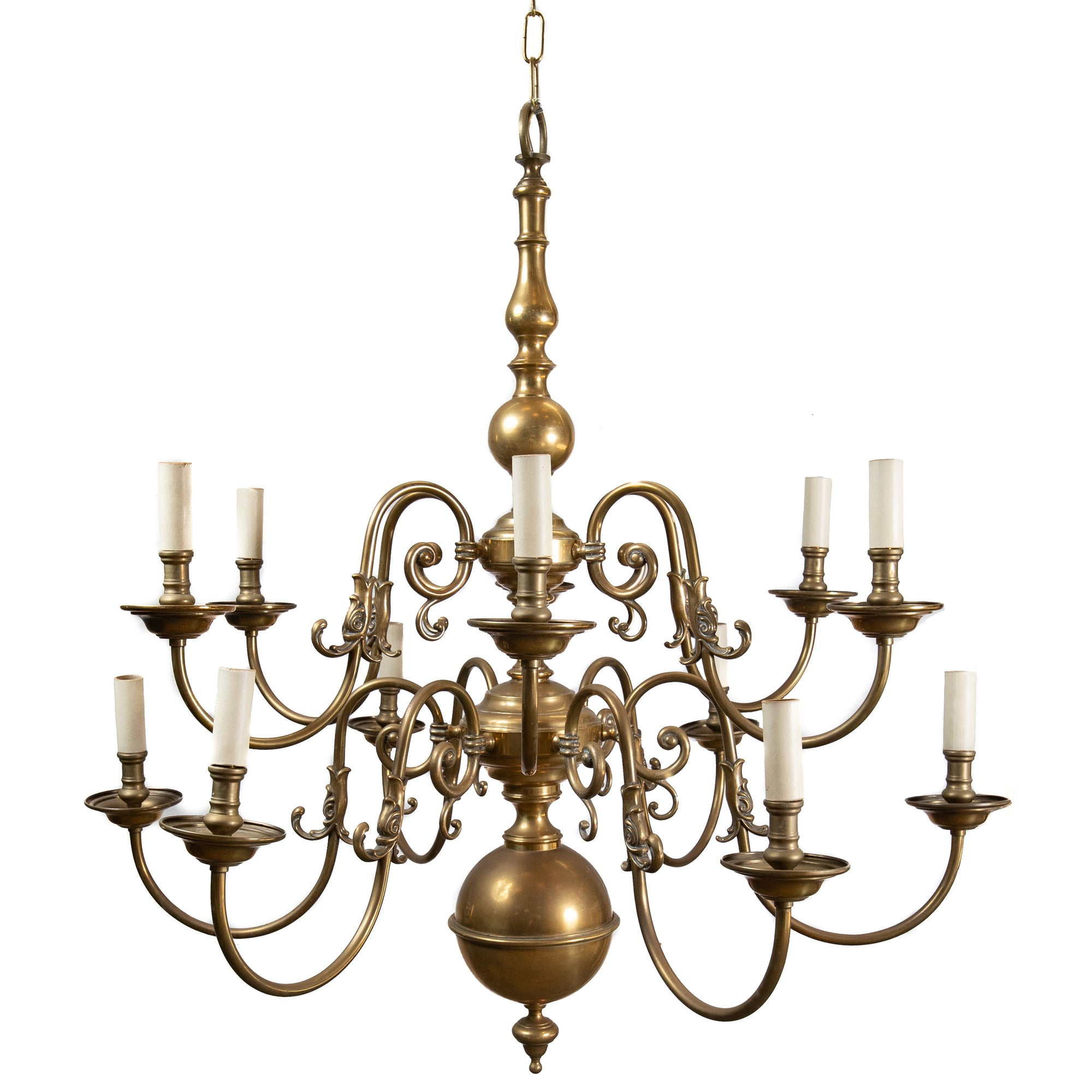 Reclaimed Dutch Style 2 Tier 12 Arm Brass Chandelier
