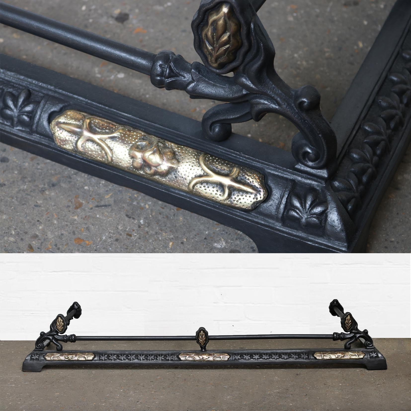 Antique Reclaimed Cast Iron & Brass Fireplace Fender | The Architectural Forum