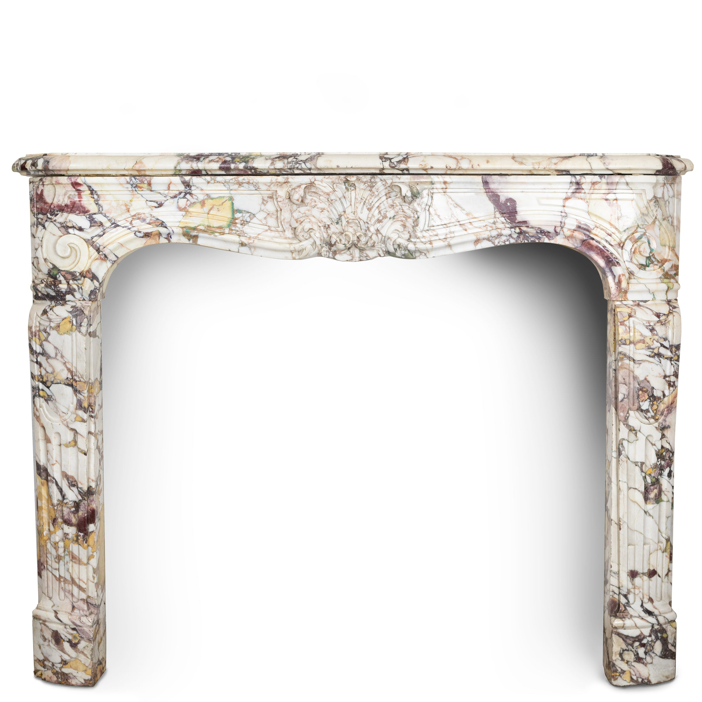 Antique Breche Marble Louis Style Fireplace Surround