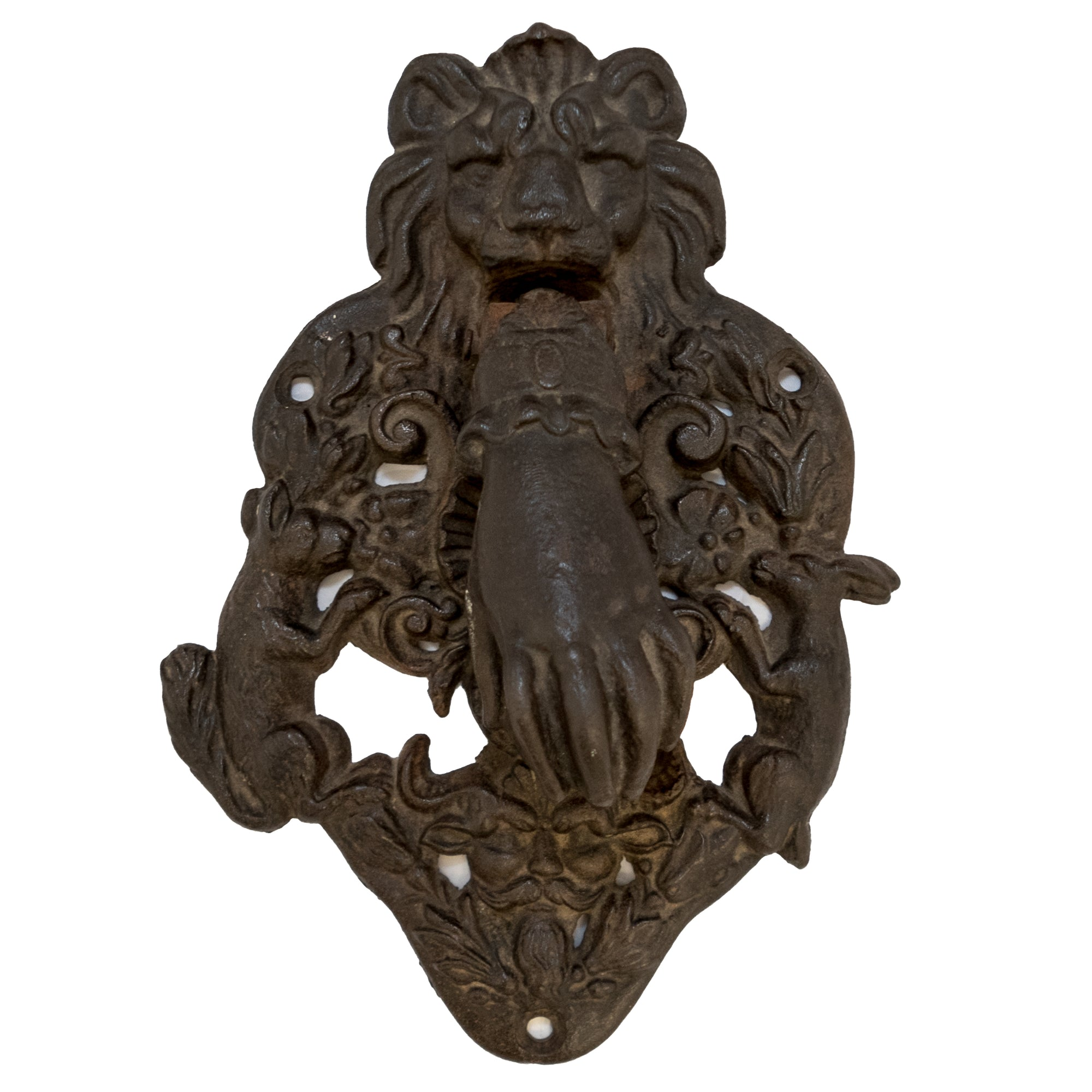 Reclaimed Large Cast Iron Lion Head & Hand Door Knocker