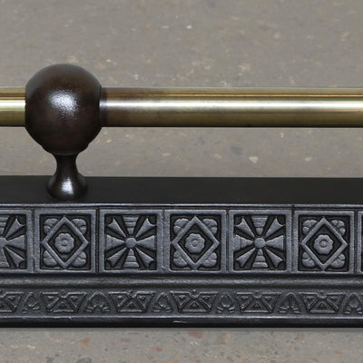decorative cast iron and brass fire fender