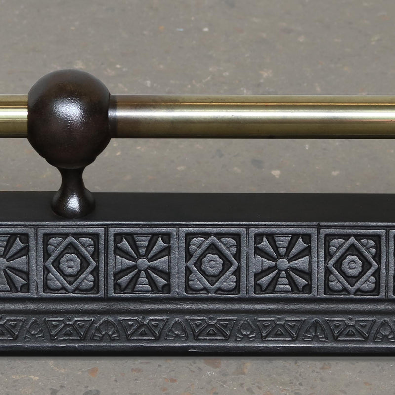 Victorian Cast Iron and Brass Fire Fender