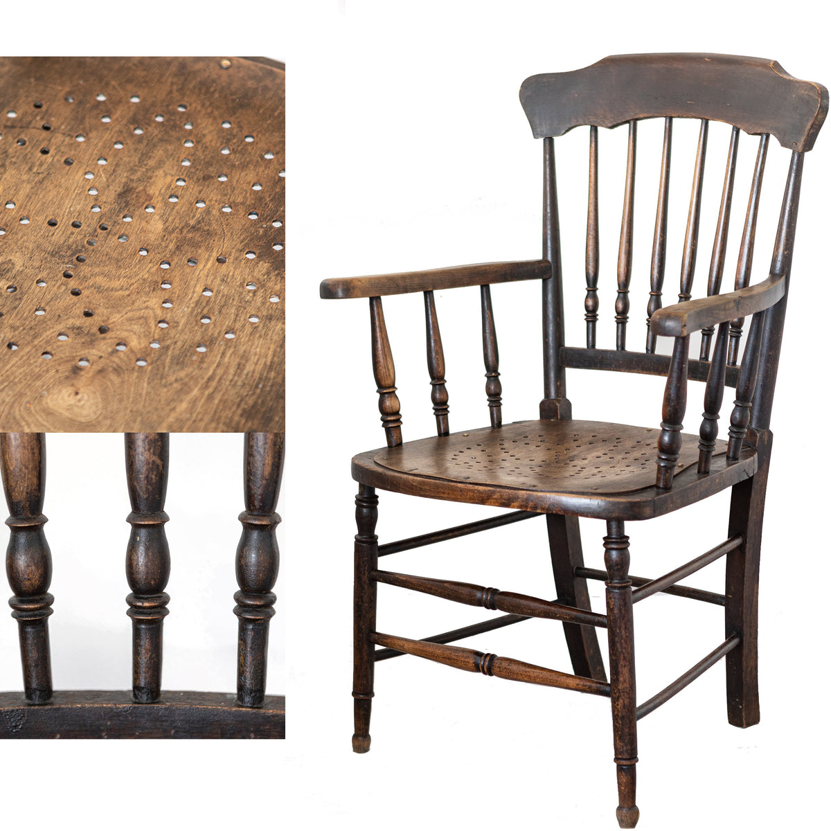 Antique Elm & Beech Hole-Punch Seat Chair | The Architectural Forum