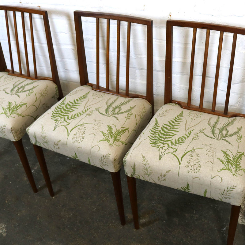 Set of 6 Mid Century Fern Botanical Leaf Print Teak Chairs - architectural-forum