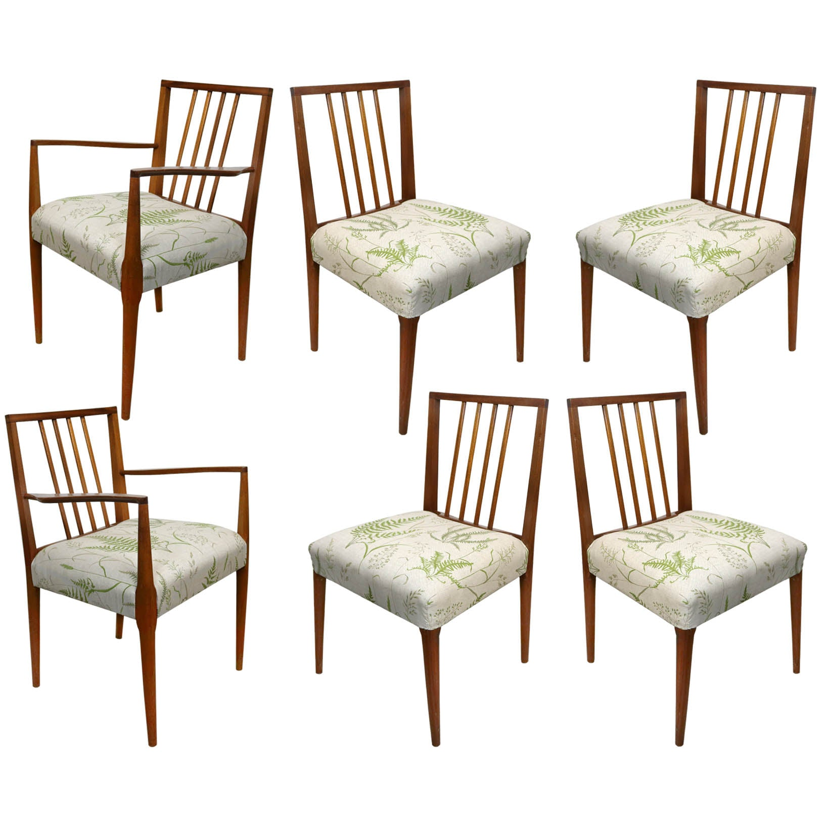 Set of 6 Mid Century Fern Botanical Leaf Print Teak Chairs