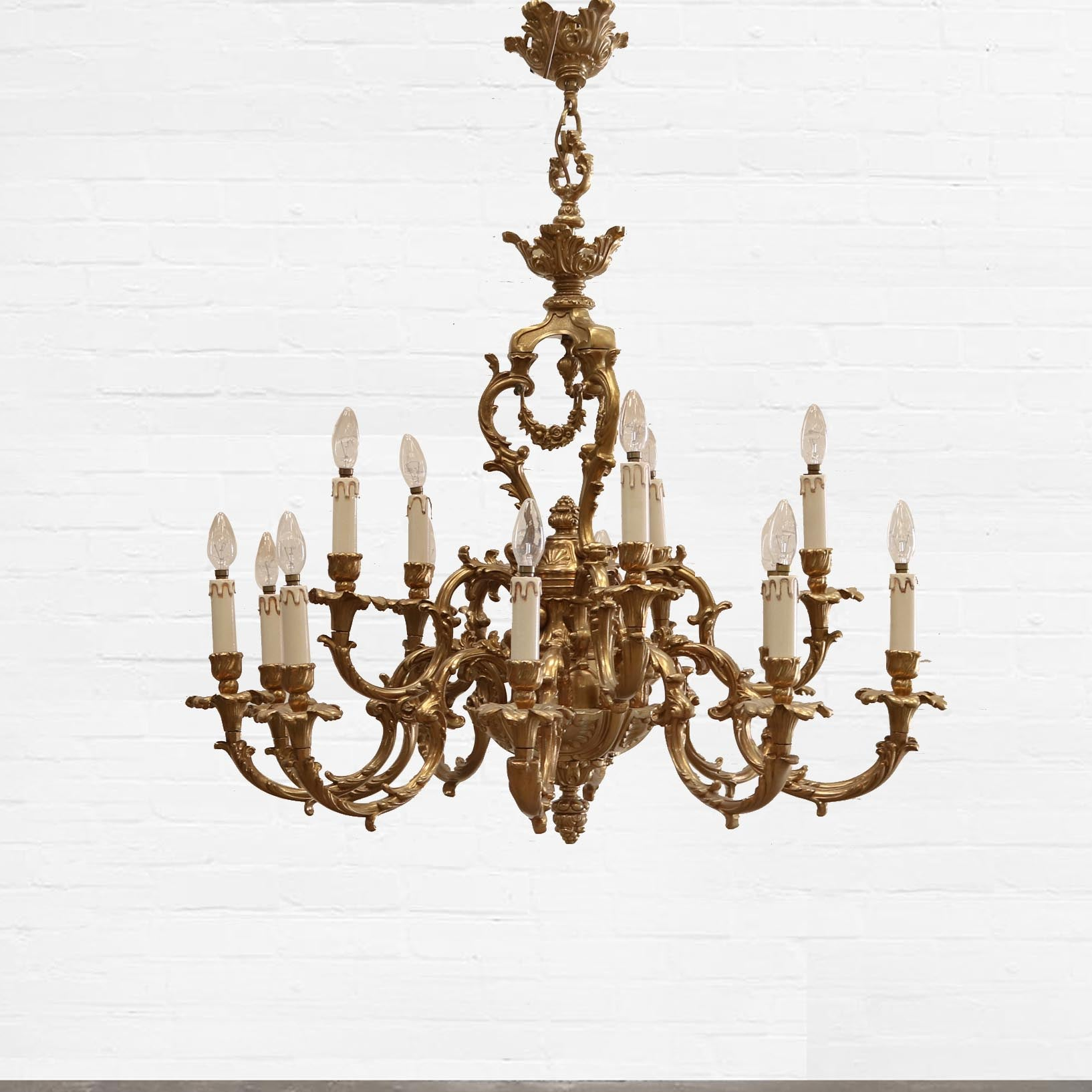 Grand Rococo Style Gold Plated Chandelier - architectural-forum