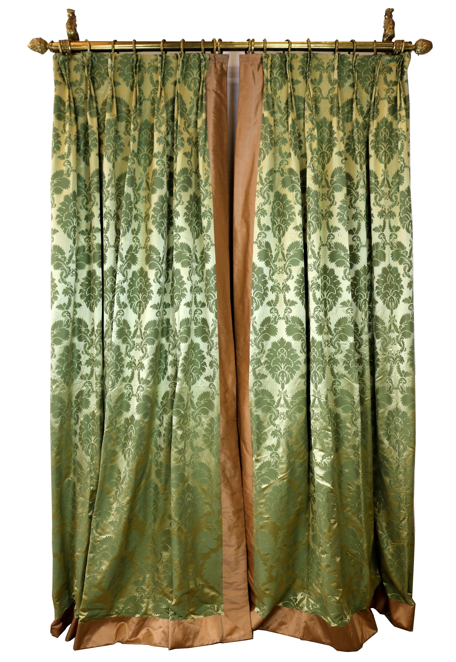 Green Silk Damask Curtains